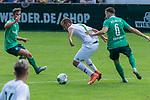 07.07.2019, Parkstadion, Zell am Ziller, AUT, PSP SV WERDER BREMEN vs WSG SWAROVSKI TIROL<br /> <br /> im Bild / picture shows <br /> <br /> <br /> Fin Bartels (Werder Bremen #22)<br /> BENJAMIN PRANTER (WSG Tirol #07)<br /> Kevin Möhwald / Moehwald (Werder Bremen #06)<br /> <br /> Foto © nordphoto / Kokenge