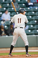 Billy Rowell #11 of the Frederick Keys at bat against the Winston-Salem Dash at  BB&T Ballpark April 28, 2010, in Winston-Salem, North Carolina.  Photo by Brian Westerholt / Four Seam Images