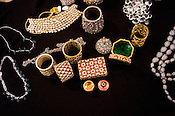 Rare and expensive jewelry is placed for a photo in Gem Palace in Jaipur, Rajasthan, India.