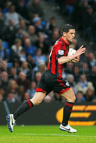 21.04.2014.  Manchester, England. Graham Dorrans of WBA celebrates his goal during the Barclays Premier League match between Manchester City and West Bromwich Albion from The Etihad Stadium.