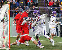 Connor Fields (#5) shoots from close range as UAlbany Men's Lacrosse defeats Richmond 18-9 on May 12 at Casey Stadium in the NCAA tournament first round.