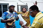 A group of musicians rehearse before their audition at the samba enredo contest for Portela school's carnaval 2010.