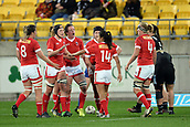 9th June 2017, Westpac Stadium, Wellington, New Zealand; International Womens Rugby; New Zealand versus Canada;  Canada players celebrate a try attempt during the International Women's Series