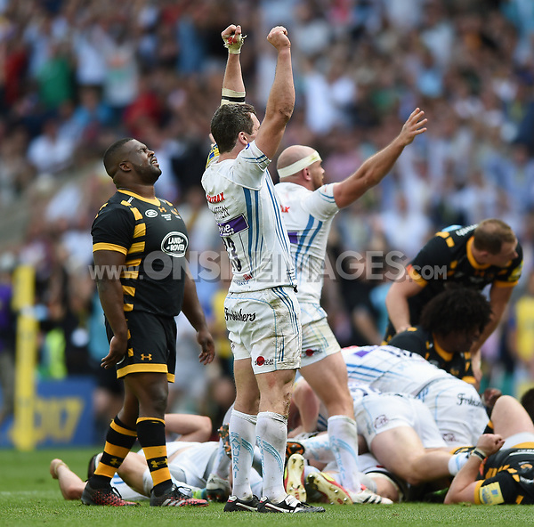 Ian Whitten of Exeter Chiefs celebrates at the final whistle. Aviva Premiership Final, between Wasps and Exeter Chiefs on May 27, 2017 at Twickenham Stadium in London, England. Photo by: Patrick Khachfe / JMP