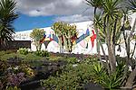 Mural in cactus garden Fundación César Manrique, Taro de Tahíche, Lanzarote, Canary islands, Spain