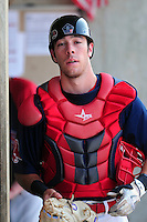 Lowell Spinners catcher Austin Rei (29) during  a game versus the Mahoning Valley Scrappers at Lelacheur Park on July 12, 2015 in Lowell, Massachusetts. (Ken Babbitt/Four Seam Images)