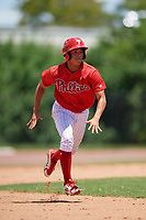 GCL Phillies West Luis Rojas (2) running the bases during a Gulf Coast League game against the GCL Yankees East on August 3, 2019 at the Carpenter Complex in Clearwater, Florida.  The GCL Yankees East defeated the GCL Phillies West 4-0, the second game of a doubleheader.  (Mike Janes/Four Seam Images)