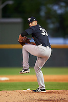 Tampa Yankees relief pitcher Dillon McNamara (33) delivers a pitch during a game against the Lakeland Flying Tigers on April 7, 2016 at Henley Field in Lakeland, Florida.  Tampa defeated Lakeland 9-2.  (Mike Janes/Four Seam Images)