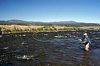 West Yellowstone MontanaFly-fishermen fishing the Madison River north of Quake Lake