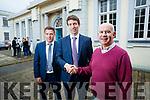 Outgoing principal Austin Ó Seachnasaigh pictured congratulating Ruairí Ó Cinnéide (new principal) and Conall Ó Cruadhlaoich (new vice principal), at Gaelchólaiste Chiarraí on Wednesday morning last.