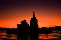 Sunrise at Mono Lake, California, USA Alkaline jagged stone formations in arcenic water