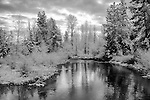 Idaho, West Central Idaho, McCall, Lake Fork Creek on a December morning rendered in black and white.