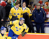 Carl Klingberg (Sweden - 17), Jacob Josefson (Sweden - 10), Tim Erixon (Sweden - 4), Marcus Johansson (Sweden - 11), ? - Team Sweden celebrates after defeating Team Switzerland 11-4 to win the bronze medal in the 2010 World Juniors tournament on Tuesday, January 5, 2010, at the Credit Union Centre in Saskatoon, Saskatchewan.