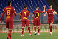 Edin Dzeko of AS Roma (R) celebrates with team mates after scoring the goal of 1-1 during the Serie A football match between AS Roma and UC Sampdoria at Olimpico stadium in Rome ( Italy ), June 24th, 2020. Play resumes behind closed doors following the outbreak of the coronavirus disease. AS Roma won 2-1 over UC Sampdoria. <br /> Photo Andrea Staccioli / Insidefoto