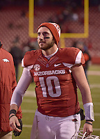 NWA Democrat-Gazette/BEN GOFF @NWABENGOFF<br /> Brandon Allen, Arkansas quarterback, walks to the locker room after the Razorbacks fell to Mississippi State on Saturday Nov. 21, 2015 during the game in Razorback Stadium in Fayetteville.