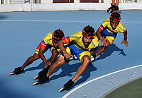 NANJING - CHINA - 23 - 08 - 2017: Steven Villegas (Izq.), Andres Felipe Muñoz (Cent.) y Alvaro Carrasquilla (Der.) patinadores de la Selección Colombia, durante entreno en el patinodromo Olimpico de Nanjing en la ciudad de Nainjing en La Republica Popular de China. /  Steven Villegas (L) Andres Felipe Muñoz (C) and Alvaro Carrasquilla (R) skaters of the Colombia Team, during a training at the skating rink Olimpic Patinodromo of Nanjing in the city of Nanjing in People's Republic of China. / Photo: VizzorImage / Luis Ramirez / Staff.
