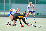 Mannheim, Germany, September 07: During the field hockey Bundesliga match between Mannheimer HC and Harvestehuder THC on September 7, 2019 at Am Neckarkanal in Mannheim, Germany. Final score 2-0. (Photo by Dirk Markgraf / www.265-images.com) *** Isabella Schmidt #31 of Mannheimer HC, Franzisca Hauke #26 of Harvestehuder THC