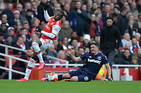 Pablo Fornals of West Ham United is booked during Arsenal vs West Ham United, Premier League Football at the Emirates Stadium on 7th March 2020