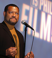 """PHILADELPHIA - MARCH 30:  Laurence Fishburne introduces his new film """"Akeelah and the Bee"""" at the opening of the 2006 Philadelphia Film Festival March 30, 2006 in Philadelphia, Pennsylvania. The festival runs through April 11, 2006. (Photo by William Thomas Cain/Getty Images)"""