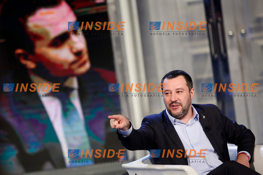 Matteo Salvini and on the video movement 5 stars Minister of Labour Luigi di Maio<br /> Rome January 10th 2019. The Italian Minister of Internal Affairs appears as a guest on the tv show Porta a Porta<br /> Foto Samantha Zucchi Insidefoto