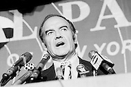 06 Oct 1971. South Dakot, USA. Senator George S. McGovern, one of the main candidates for the 1972 Democrat Presidency elections, delivering a speech at the annual Liberal Party dinner at the Hotel Americana in New York.