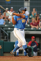Infielder Michael Jones (29) of the Myrtle Beach Pelicans at a game against the Potomac Nationals on Aug. 7, 2010, at BB&T Coastal Field in Myrtle Beach, S.C. Photo by: Tom Priddy/Four Seam Images