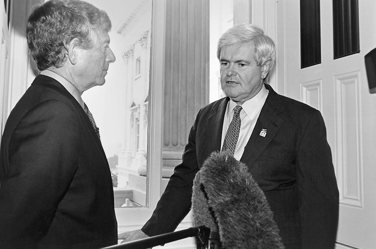 """ABC's Ted Koppel interviewing Speaker of the House Rep. Newton Leroy """"Newt"""" Gingrich, R-Ga. June 11, 1996 (Photo by Laura Patterson/CQ Roll Call)"""