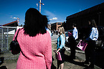 November 1, 2007. Durham, NC.. US senator and presidential candidate, Barack Obama, held a fundraiser at O?Kelly Riddick Stadium, at North Carolina Central University, in Durham, NC.. Volunteers wait to get into the stadium after the security screening by the Secret Service.