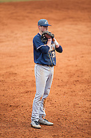 Akron Zips third baseman James Meeker III (37) on defense against the Charlotte 49ers at Hayes Stadium on February 22, 2015 in Charlotte, North Carolina.  The Zips defeated the 49ers 5-4.  (Brian Westerholt/Four Seam Images)