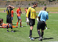 Wellington captain Jim Bannatyne questions referee Campbell Waugh after the sending-off of Adam Birch..NZFC soccer  - Team Wellington v Waikato FC at Newtown Park, Wellington. Sunday, 20 December 2009. Photo: Dave Lintott/lintottphoto.co.nz