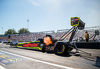 Sep 23, 2017; Mohnton, PA, USA; NHRA top fuel driver Richie Crampton during qualifying for the Dodge Nationals at Maple Grove Raceway. Mandatory Credit: Mark J. Rebilas-USA TODAY Sports