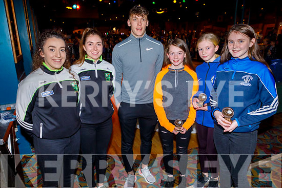 Awards winners girls winners, Colene O'Callaghan, Colleen Horan and Keelan O'Sulivan receive their medals at the Castleisland Desmonds LGFA/GAA Awards Night in the River Island Hotel on Sunday..<br /> L to r: Ashling O'Connell and Eilis Lynch David Clifford, Colene O'Callaghan, Colleen Horan and Keelan O'Sulivan.