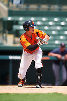 GCL Orioles right fielder Tristan Graham (24) squares to bunt during a game against the GCL Twins on August 11, 2016 at the Ed Smith Stadium in Sarasota, Florida.  GCL Twins defeated GCL Orioles 4-3.  (Mike Janes/Four Seam Images)