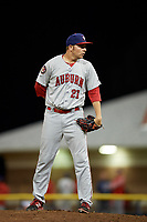 Auburn Doubledays relief pitcher David Smith (21) looks in for the sign during a game against the Batavia Muckdogs on June 28, 2018 at Dwyer Stadium in Batavia, New York.  Auburn defeated Batavia 14-9.  (Mike Janes/Four Seam Images)