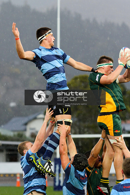 Press Cup:  Waimea College v Nelson College. Trafalgar Park, Nelson, New Zealand. Thursday 7 August 2014. <br /> Photo: Marc Palmano/shuttersport.co.nz