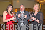 ATHLETICS FAMILY: Eilish Fitzpatrick (Junior Track & Field winner), Tom Joe O'Donoghue (Hall of Fame winner) and Sheila O'Donoghue (Master of Track & Field) three generations of the same family from Gneeveguilla AC who won awards at the AAI Kerry awards night at the Brandon hotel on Saturday.