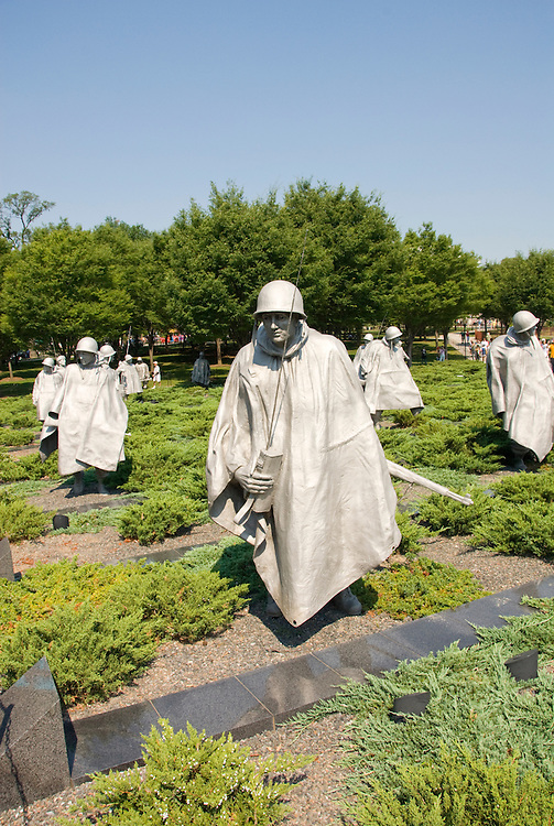Washington DC; USA: The Korean War Veterans Memorial.  The statues of soldiers in a platoon march warily across a field..Photo copyright Lee Foster Photo # 9-washdc83225