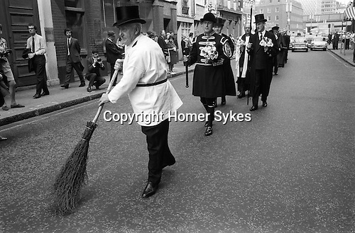 Vintners Procession City of London. 1971 Sweeping the Road.