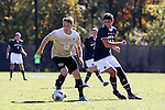 06 November 2016: Wake Forest's Brad Dunwell (12) and Notre Dame's Jeffrey Farina (right). The Wake Forest University Demon Deacons hosted the University of Notre Dame Fighting Irish at Spry Stadium in Winston-Salem, North Carolina in a 2016 NCAA Division I Men's Soccer match and an Atlantic Coast Conference Men's Soccer Tournament quarterfinal. Wake Forest won the game 1-0.
