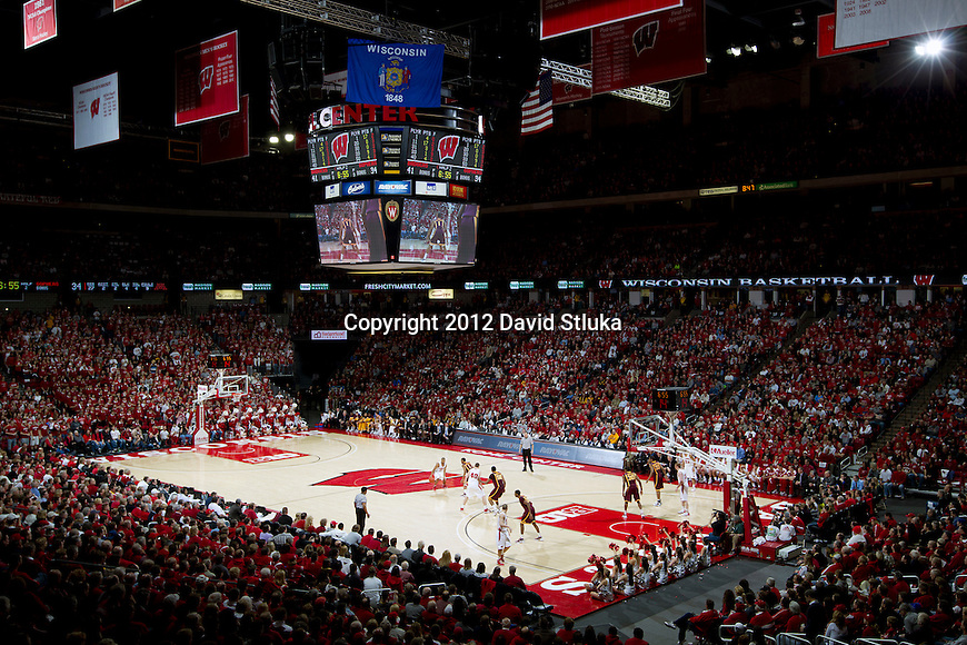 A general view of the Kohl Center during the Wisconsin Badgers Big Ten Conference NCAA college basketball game against the Minnesota Golden Gophers on Tuesday, February 28, 2012 in Madison, Wisconsin. The Badgers won 52-45. (Photo by David Stluka)