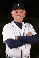 February 27, 2010:  Manager Jim Leyland (10) of the Detroit Tigers poses for a photo during media day at Joker Marchant Stadium in Lakeland, FL.  Photo By Mike Janes/Four Seam Images