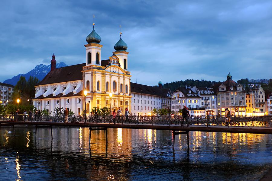 Jesuitenkirche on River Reuss, Lucerne, Switzerland, Europe