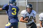 Santa Monica, CA 10/17/13 - \pj25\ in action during the Peninsula vs Santa Monica Junior Varsity football game at Santa Monica High School.