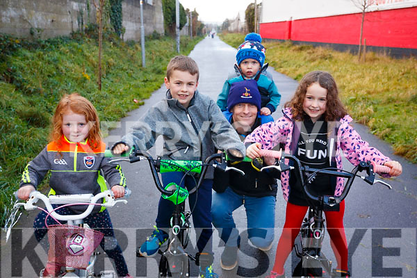 Farren Ní Dhálaigh, Eoghan Daly, Paul Daly, Gearoid Daly, Caoimhe Daly, pictured at the Tralee to Fenit Greenway Cycle, on Sunday last.