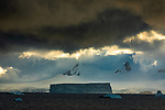 Antarctica, Antarctic Peninsula, landscape of icebergs and glaciers under heavy, sunlit cloud cover