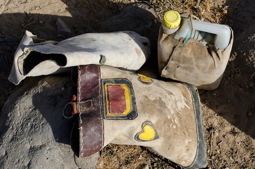 A bag and water bottle of Bedouin shepherds near Qadisiyya, Jordan