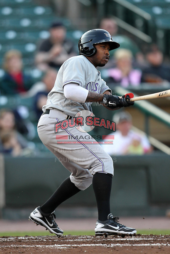 Louisville Bats outfielder Willie Harris #1 during a game against the Rochester Red Wings at Frontier Field on May 15, 2012 in Rochester, New York.  Rochester defeated Louisville 5-4.  (Mike Janes/Four Seam Images)