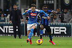 Piotr Zielinski of Napoli clashes with Victor Moses of Inter during the Coppa Italia match at Giuseppe Meazza, Milan. Picture date: 12th February 2020. Picture credit should read: Jonathan Moscrop/Sportimage