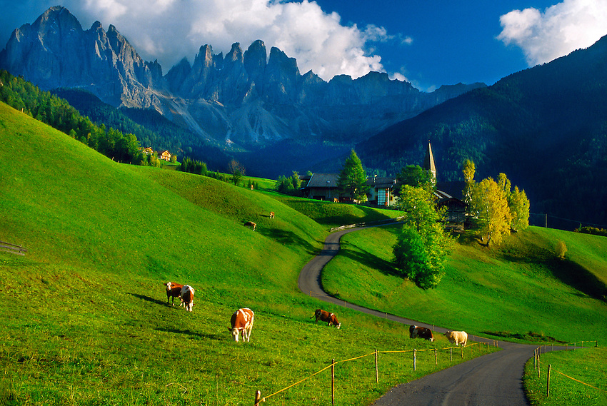 Idyllic alpine scene in the village of St. Magdalena in the Dolomites, Italy