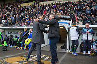 Mark Cooper Manager of Notts County & Wycombe Wanderers Manager Gareth Ainsworth embrace during the Sky Bet League 2 match between Notts County and Wycombe Wanderers at Meadow Lane, Nottingham, England on 28 March 2016. Photo by Andy Rowland.